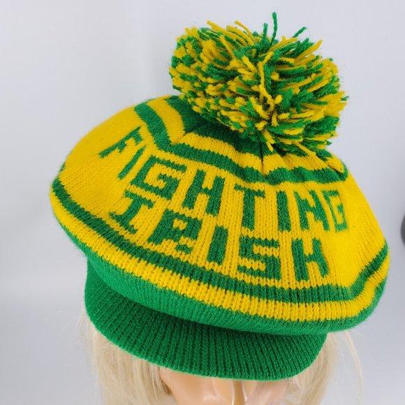 Vintage Fighting Irish Knit Pom Golf Cap St Paddys